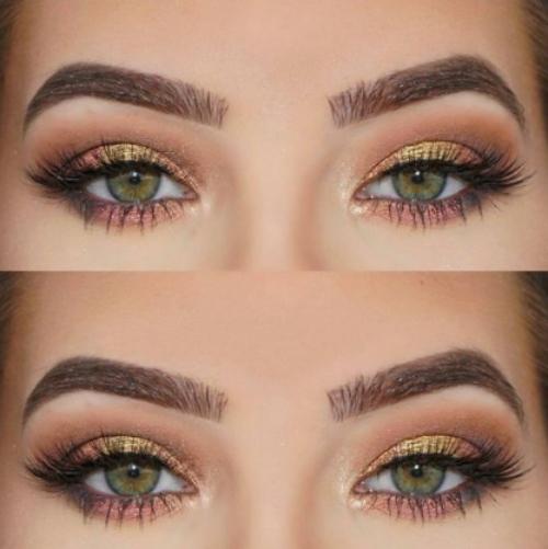 Yeşil gözler için düğün makyajı